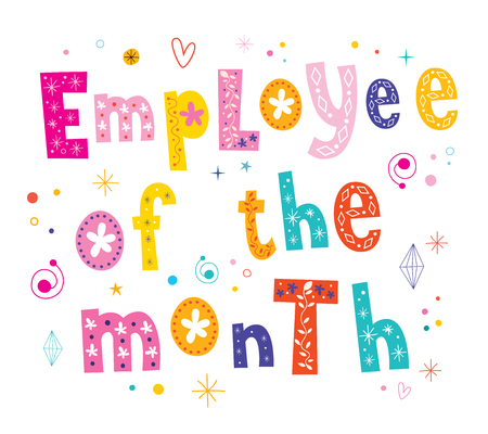 months: Employee of the month banner decorative lettering text Illustration