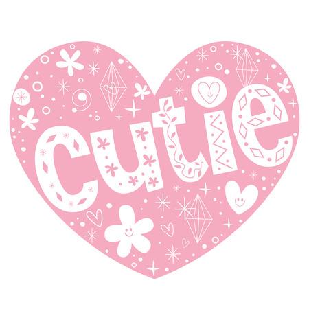 cutie: cutie heart shaped lettering design