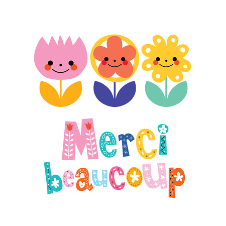 thank you very much: Merci beaucoup thank you very much in French greeting card
