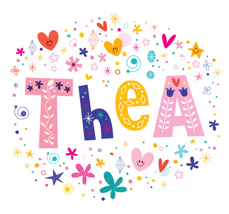 Thea girls name decorative lettering type design