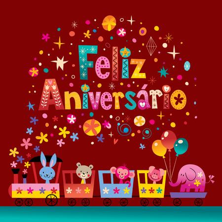 feliz: Feliz Aniversario Portuguese Happy Birthday card