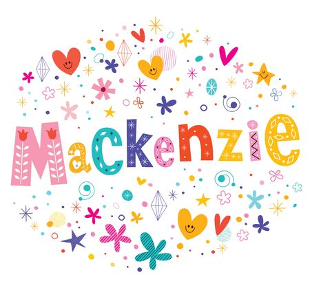 scottish female: Mackenzie girls name decorative lettering type design Illustration