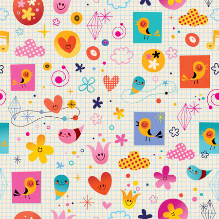 note paper background: hearts birds flowers clouds seamless pattern with note book paper background