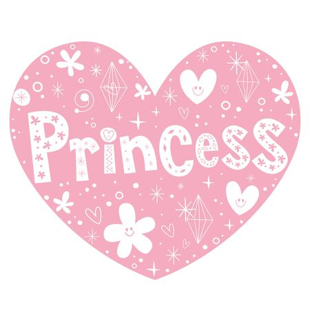 shaped: princess pink heart shaped lettering design Illustration