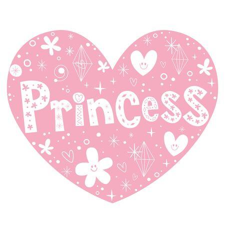princess pink heart shaped lettering design Illustration