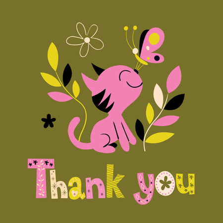 typo: thank you card with cute kitten Illustration