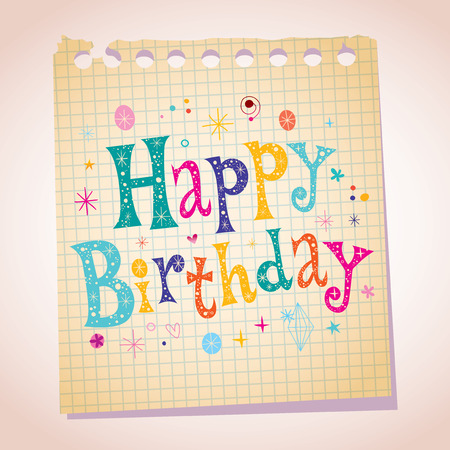 paper note: Happy Birthday note paper message lettering type