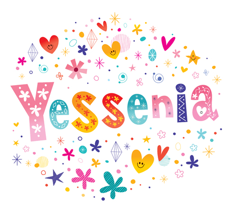 latin american girls: Yessenia girls name decorative lettering type design