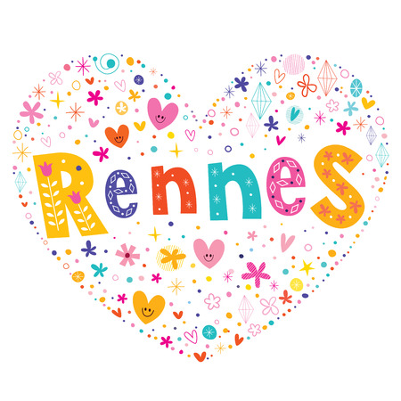 shaped: Rennes city in France heart shaped type lettering vector design