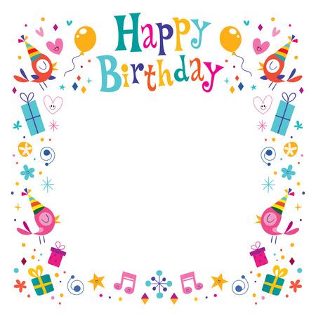 marco cumpleaños: Marco de la frontera decorativa Feliz Cumpleaños Vectores