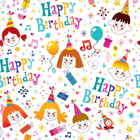 birthday party: Happy birthday kids party seamless pattern Illustration
