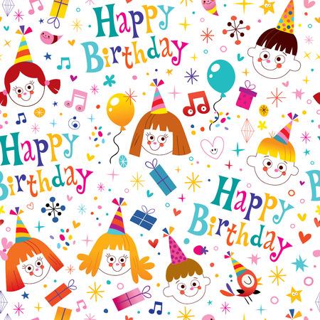 kids birthday party: Happy birthday kids party seamless pattern Illustration