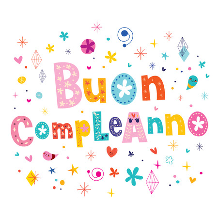 Buon Compleanno Happy Birthday In Italian Greeting Card Royalty Free
