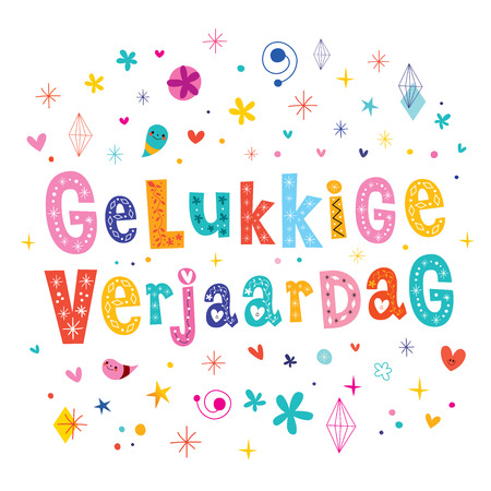 gelukkige verjaardag Dutch Happy birthday greeting card Holland