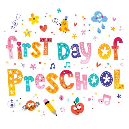 preescolar: primer día de preescolar diseño único de letras niños Vectores