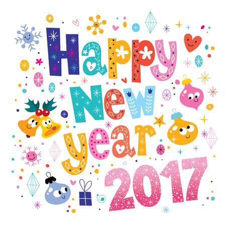 new year card: Happy New year 2017 card