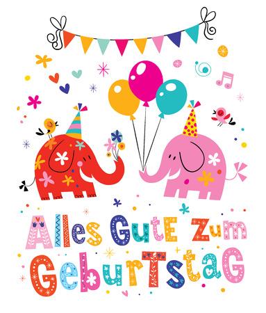 Alles Gute zum Geburtstag Deutsch German Happy birthday greeting card with cute elephants