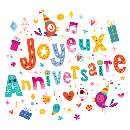 Joyeux Anniversaire Happy Birthday in French greeting card Vectores