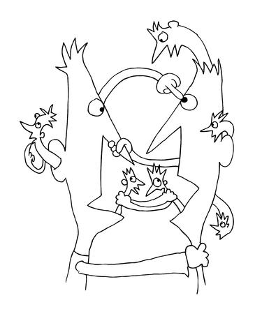 communication concept: Conflict communication cartoon concept illustration