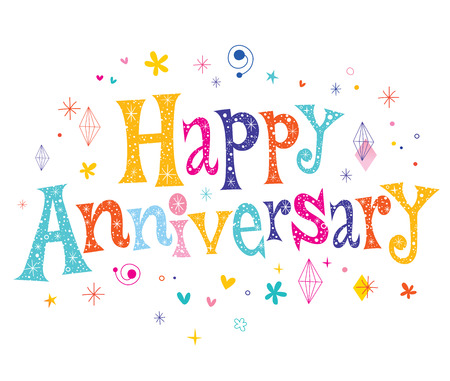 Happy Anniversary decorative lettering text design