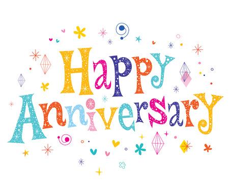 Happy Anniversary decorative lettering text design