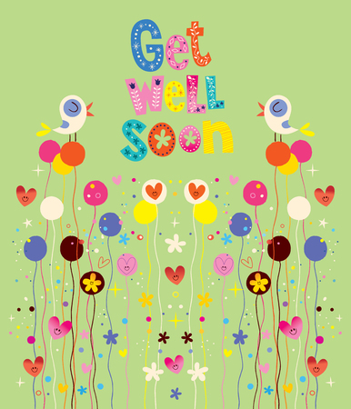 get well soon: Get well soon nature card with birds, flowers and hearts