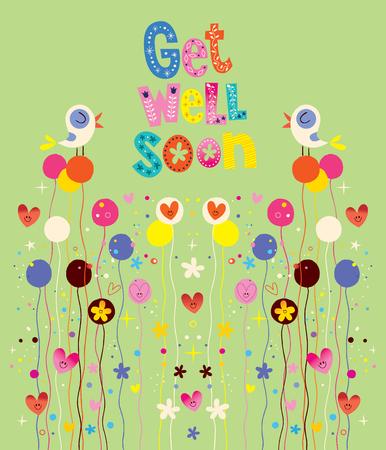 Get well soon natuur kaart met vogels, bloemen en harten