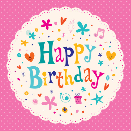 catchy: Happy Birthday card round design Illustration