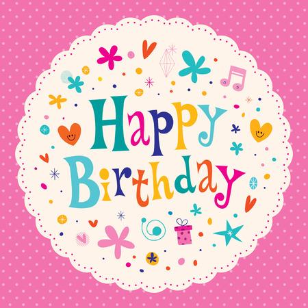 catchy: Happy Birthday card round design Illustration