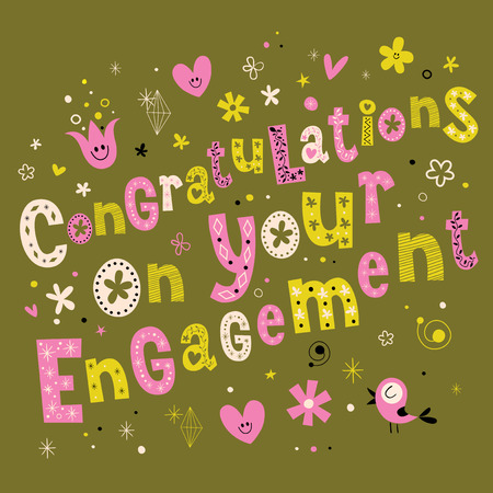 Congratulations on your engagement retro greeting card  イラスト・ベクター素材