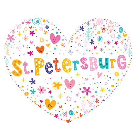 type lettering: St Petersburg city in Russia heart shaped type lettering vector design Illustration