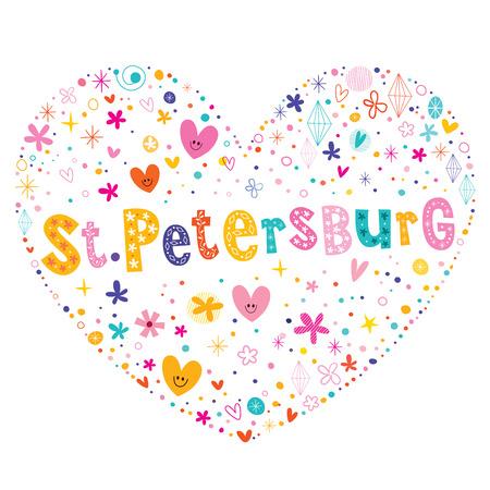 petersburg: St Petersburg city in Russia heart shaped type lettering vector design Illustration