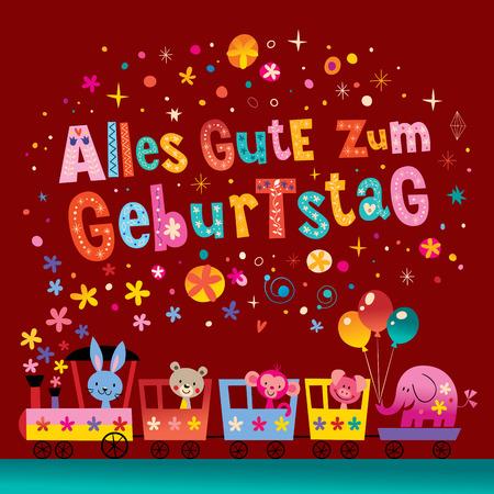 Alles Gute zum Geburtstag Deutsch German Happy birthday greeting card with cute animals