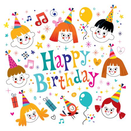happy kids: Happy Birthday kids vector design