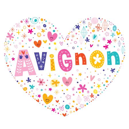 avignon: Avignon city in France heart shaped type lettering vector design Illustration