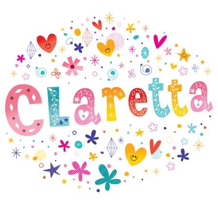 italia: Claretta girls name decorative lettering type design Illustration