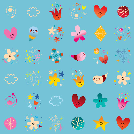 hearts and flowers: hearts flowers nature little characters seamless pattern Illustration