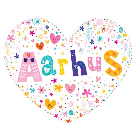 Aarhus city in Denmark heart shaped type lettering vector design