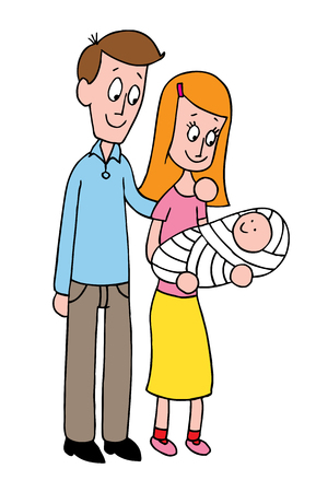 mother baby: Young parents mother and father with newborn baby Illustration