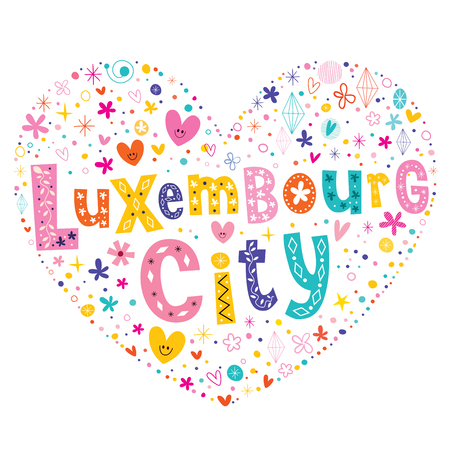 type lettering: Luxembourg City heart shaped type lettering vector design