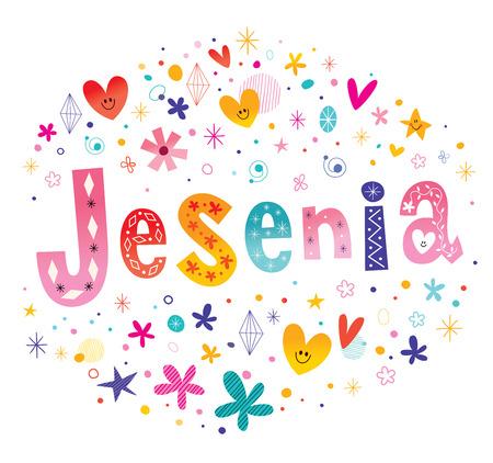 latin american girls: Jesenia girls name decorative lettering type design