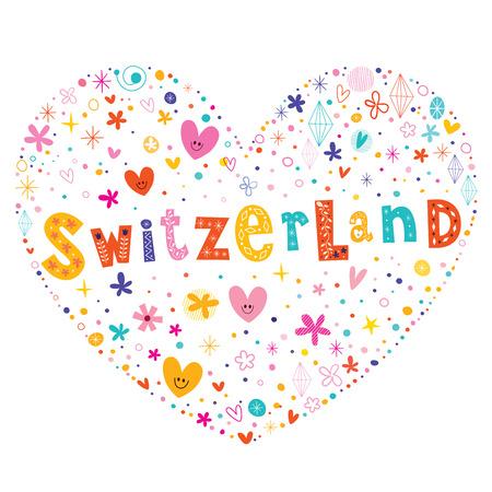 type lettering: Switzerland heart shaped type lettering vector design Illustration