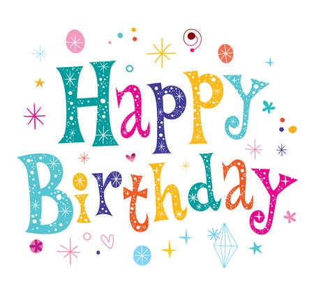 Happy Birthday unique lettering text