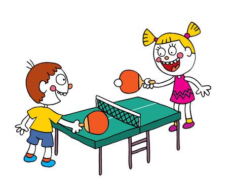 kinderen spelen tafeltennis Stock Illustratie