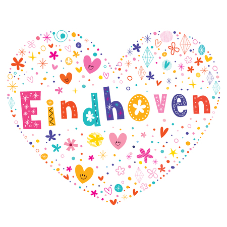 Eindhoven city in the Netherlands heart shaped type lettering vector design