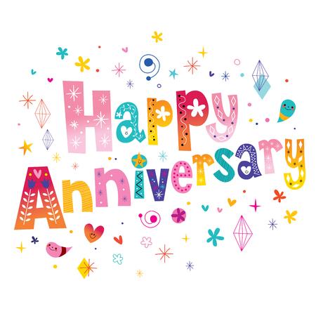Happy Anniversary celebration decorative lettering text design