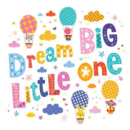 little one: Dream big little one kids nursery art with cute baby animal characters