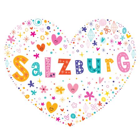type lettering: Salzburg city in Austria heart shaped type lettering vector design