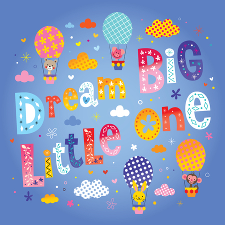 Dream big little one kids nursery art with cute baby animal characters