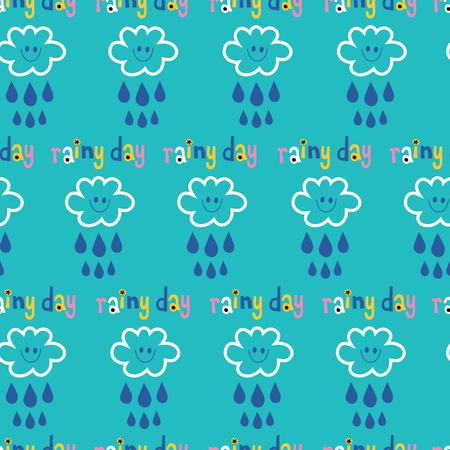 rainy day clouds and rain sky seamless pattern